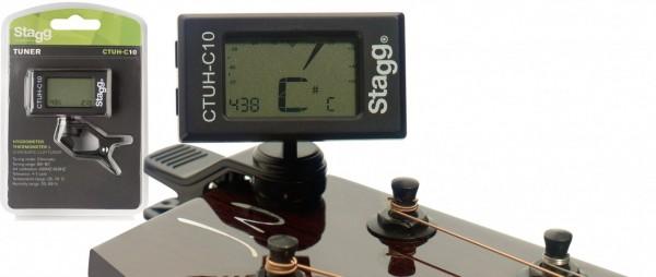 Clip-On Stimmgerät m. eingebautem Thermo- u. Hygrometer